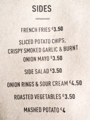 Sides Menu at The Old Frizzle Wimbledon