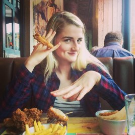 Woman wearing an onion ring on her finger